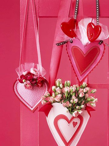 Heart-Shape Pouches Hanging heart pouches can hold any type of treats, from