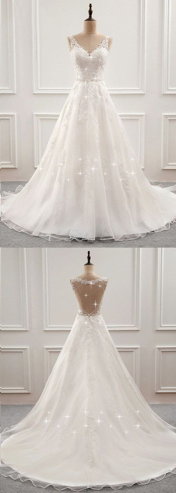 Open Back Wedding Dresses Long Train Romantic Appliques Simple Bridal Gown