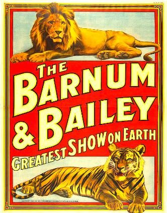 BARNUM & BAILEY: Lion above Tiger with Red Banner 1930's Platinum Vintage Giclee