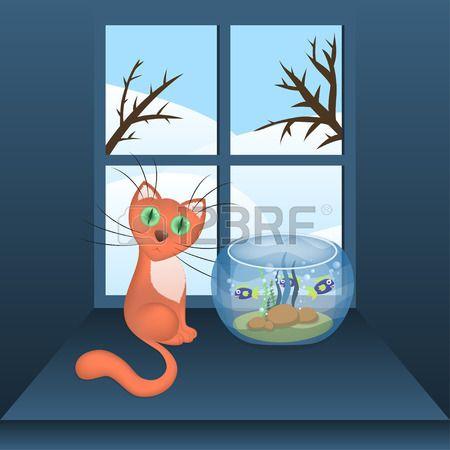 Cartoon gatto e acquario con pesci su un davanzale della finestra e vista invernale in una finestra, illustrazione vettoriale, eps10 Archivio Fotografico - 30295342