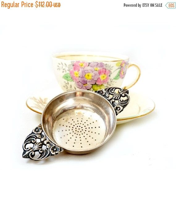 christmas sale Vintage Tea Strainer Silver 800,Two Handled Tea Strainer Silver,Solid Silver 800 Tea Infuser,Tea Party Gifts. by millyscollection on Etsy https://www.etsy.com/listing/479445205/christmas-sale-vintage-tea-strainer