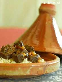 Lamb Tagine - my favourite meal. Loaded with chickpeas, flaked almonds ...