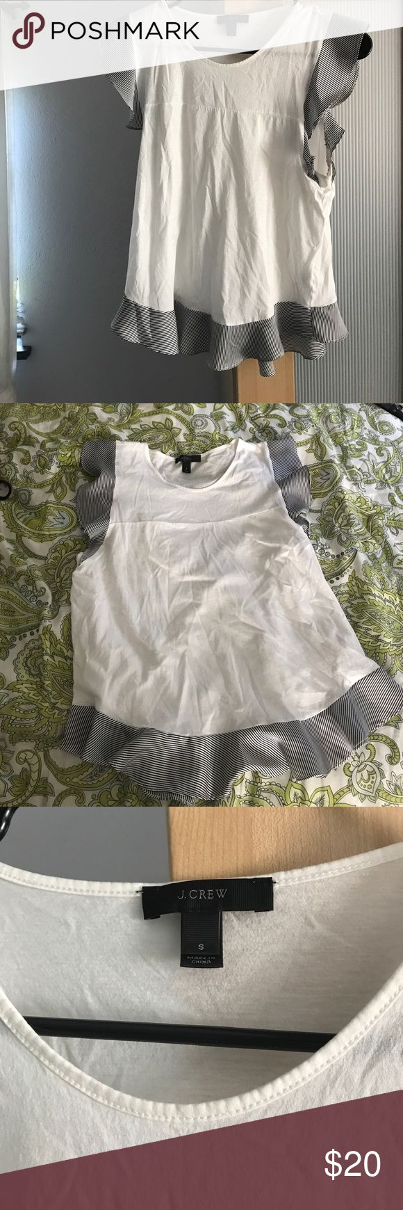J crew white blouse with stripe ruffle detail Gently worn j crew top with blue and white stripe detailing on sleeves and bottom. Size small. 100% cotton J. Crew Tops Blouses