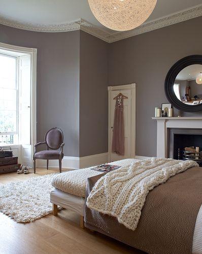 Gray & espresso combo.....beautiful   master bedroom--I like the big windows and fireplace