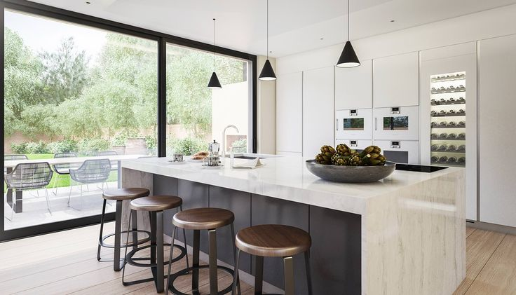 Contemporary kitchen and dining room in a modern extension