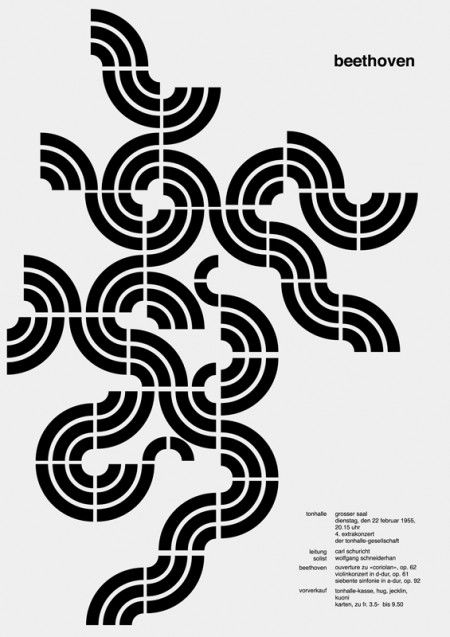 UTS Visual Communication: Universal Appeal. Beethoven poster by Josef Muller Brockmann poster for the Zurich Town Hall in the 1950s. Brockmann felt the rhythm of the music the posters were advertising which he reflected in his work. They exemplify constructivism as the pattern moves off the page. The poster is more graphic than illustrative.