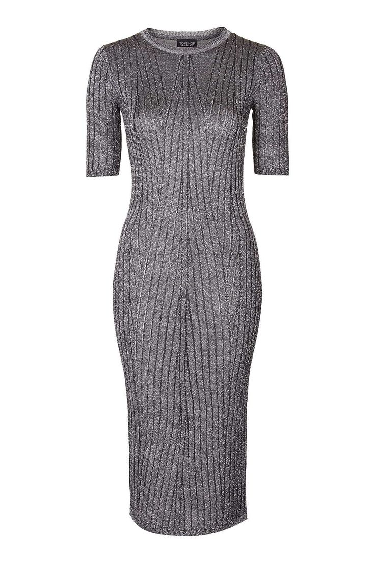 Metallic Rib Midi Dress - Topshop