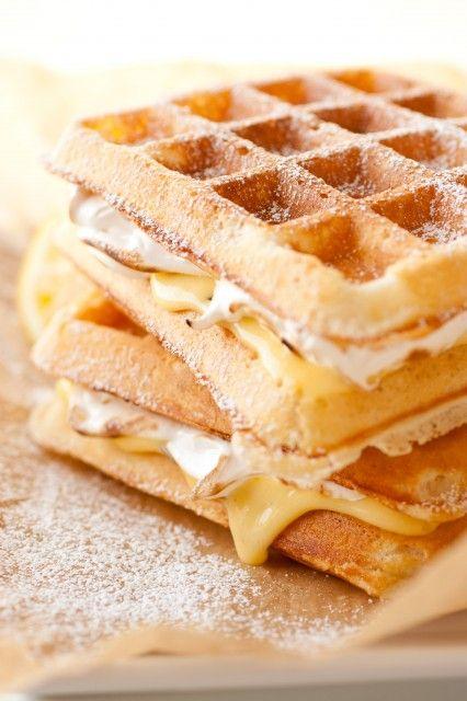 Lemon Meringue Pie Stuffed Waffles...oh my.