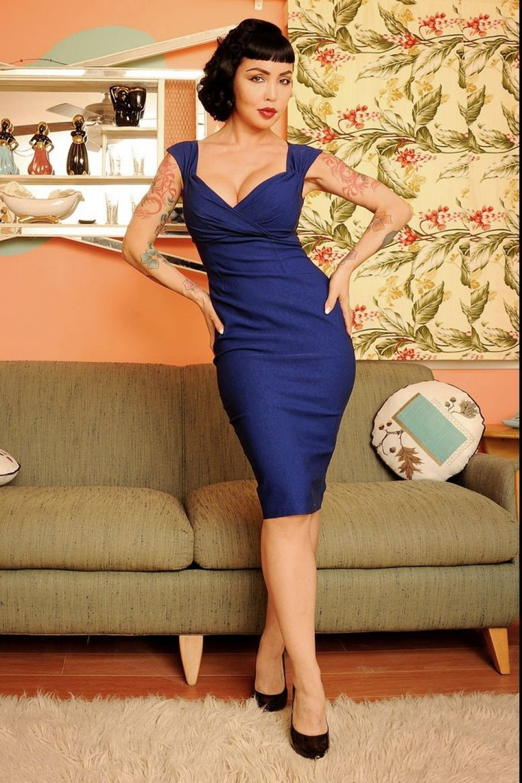 Pinup Couture - 50s Erin wiggle dress Royal Blue