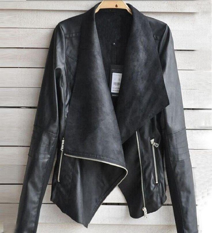 Tongshi Moda Vintage Mujeres del motorista de la motocicleta del cuero de la cremallera de la chaqueta Escudo: Amazon.es: Ropa y accesorios