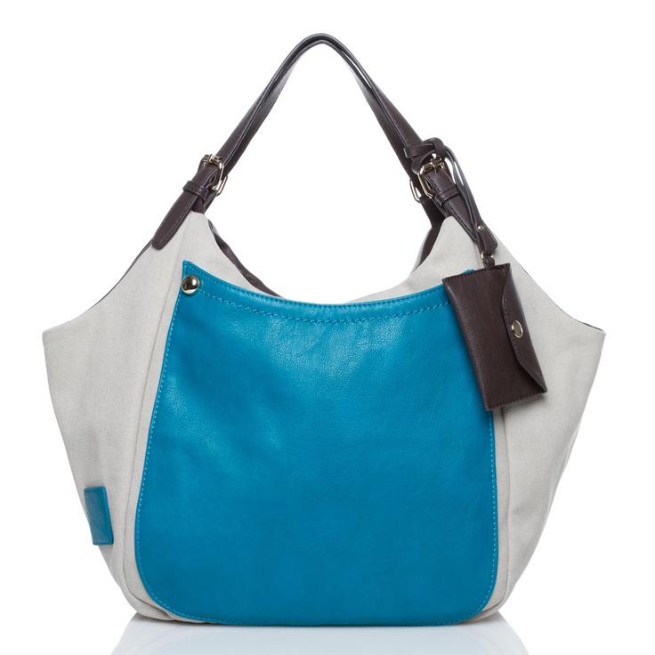 #blue #handbag White/Blue/Brown: Bags Handbags Libraries, Handbags White Blue Brown,  Postbag, Bags Totes Clutches, Heavens Handbags, White Handbags, Color Blocks, Blue Handbags, Bags Deals