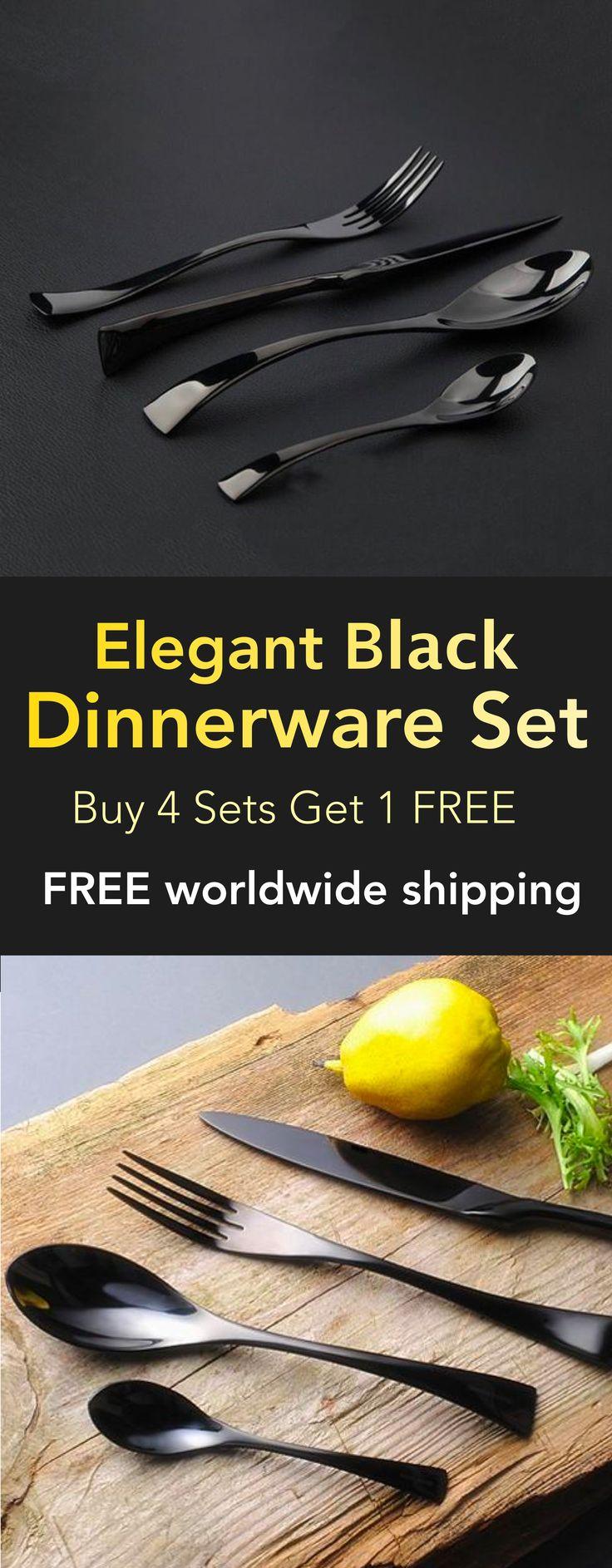 Black Stainless Steel Dinnerware Set