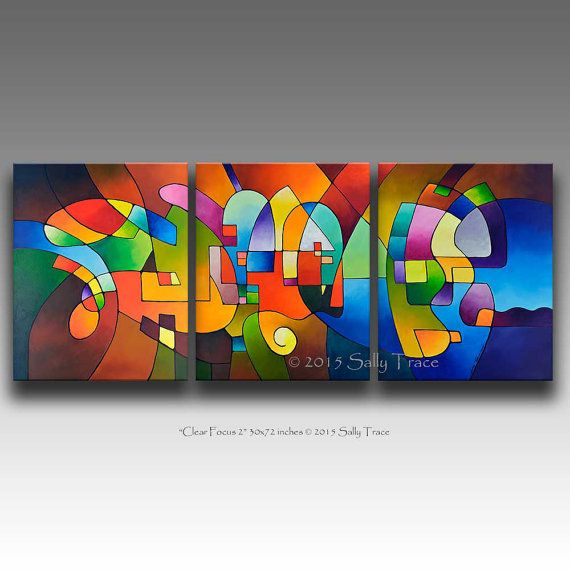 Canvas Giclee Prints from my Original Modern Abstract Triptych Painting, Clear Focus 2, 30x72 inches
