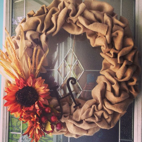 Fall Burlap Wreath: Forget about buying it. I think I'm going to attempt to make this with a large 'D' for our family.