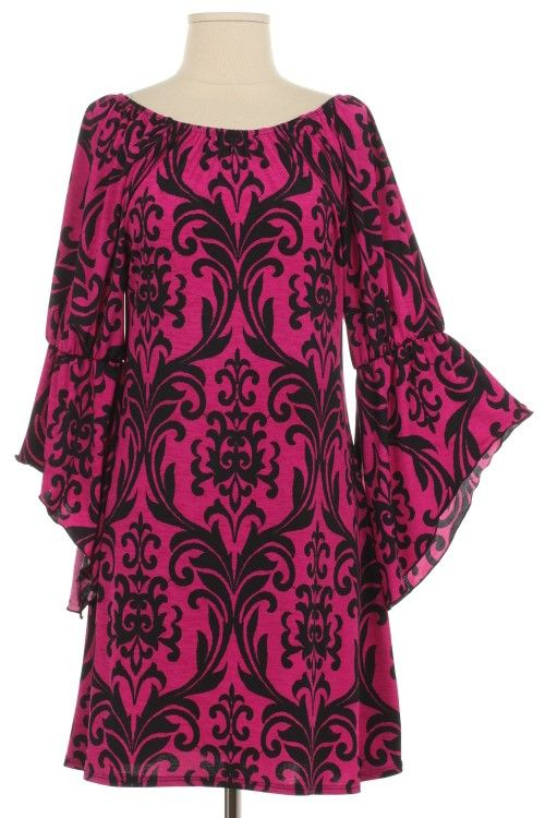 Regal Elegance Pink Damask Dress - Plus Size www.gypzranch.com
