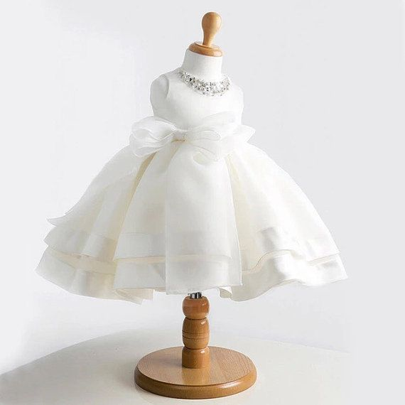 Baby Girl Baptism Dress Bow gown christening  by shizheoflove