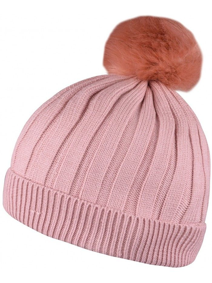 ca94029e5f9 Chunky Beanie With Pom Fleece Lined Winter Skull Hat Knit Beanies Solid  Color - Light Pink - CF188NLQM70 - Hats   Caps