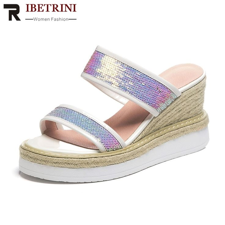 RIBETRINI New Fashion Summer Slippers 2019 women's Genuine Leather Bling Ladies High Heels Platform Shoes Woman Outside Slippers