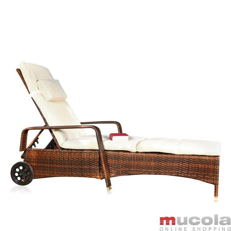 Rattan Loungeliege verstellbar Sonnenliege Polyrattan Lounge Gartenliege NEU