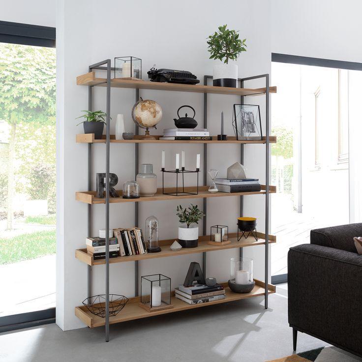 Bookshelf Dharai – solid oak / metal – oak / silver