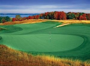 At the famed LochenHeath Golf Course in Traverse City, you can see the bay on 16 of the 18 holes.