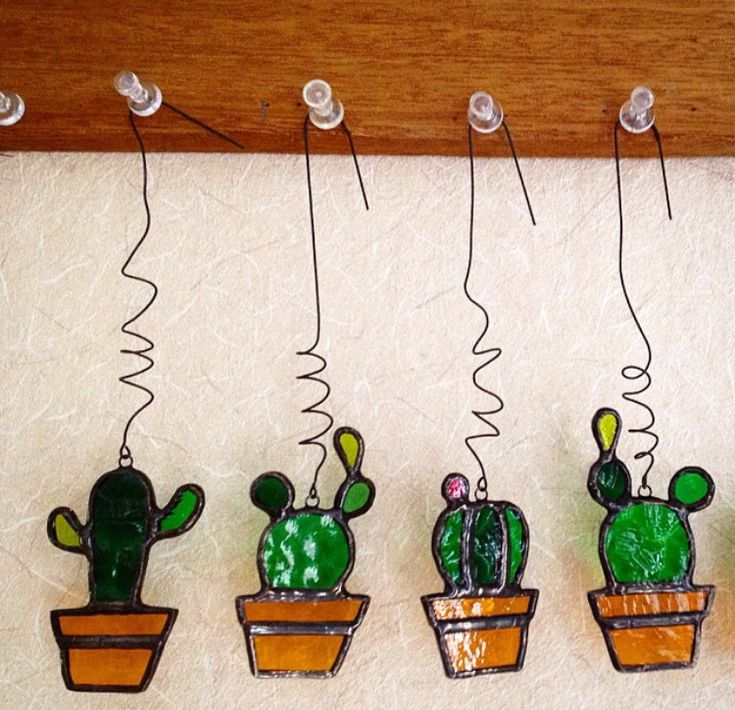 Stained glass cactus ornament