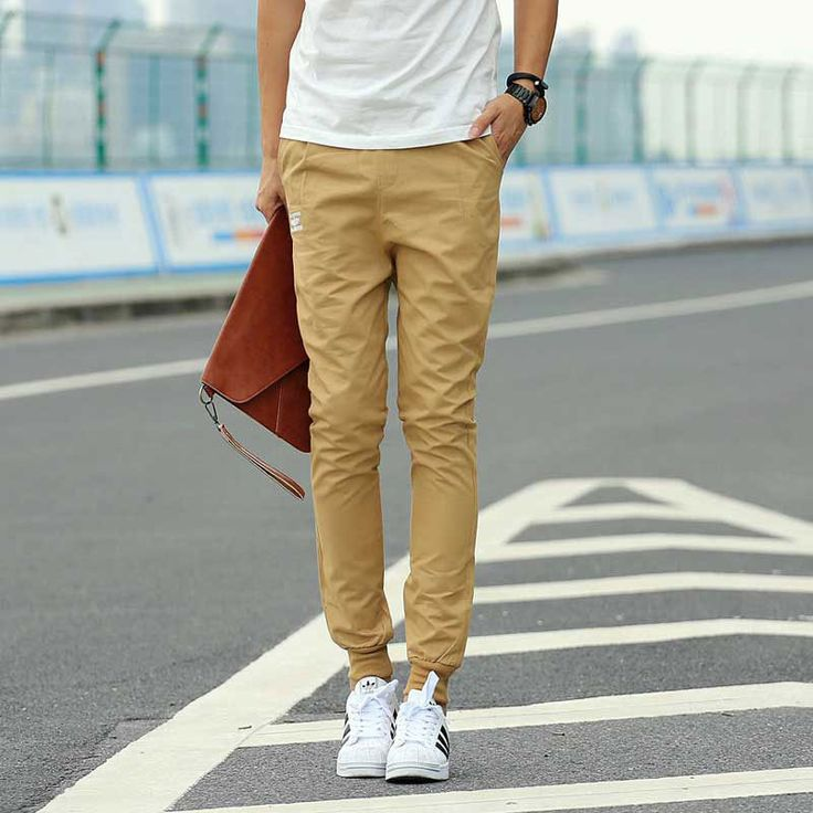 Хаки бегунов свободного покроя мода новое поступление : тонкий мужские брюки цвета хаки хлопок штаны шаровары мужчин спортивные брюки бегун штаны