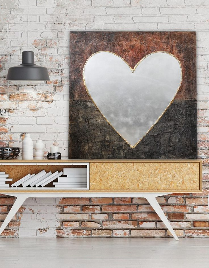 Big Love Heart Canvas, Warm Autumnal Hues - textured canvas with metallic elements. More on our website www.silverwallart.co.uk