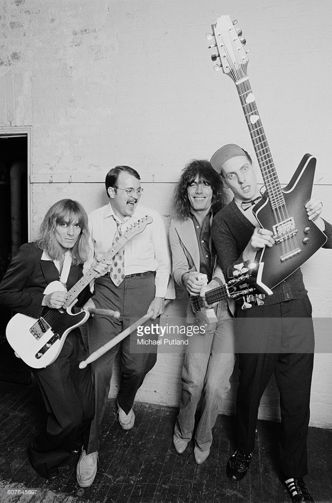 American rock group Cheap Trick, USA, 1977. Left to right: singer Robin Zander, drummer Bun E. Carlos, bassist Tom Petersson and guitarist Rick Nielsen.