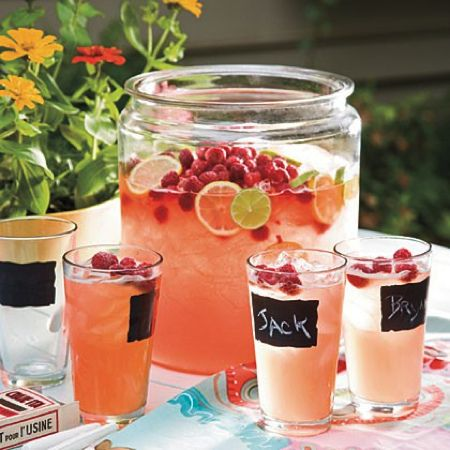 outdoor entertaining idea: use chalk paint to label cocktail glasses