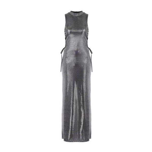 Silver Metallic Side Lace Up Dress by Jaded London ($81) ❤ liked on Polyvore featuring dresses, silver, metallic party dress, silver metallic dress, going out dresses, maxi party dresses and metallic dress