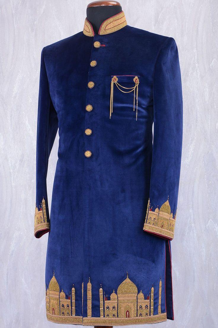 Navy Blue Velvet Zardosi Embroidered Wedding Sherwani-SH375