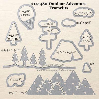 Outdoor Adventure Framelits Dies sizes shared by Dawn Olchefske #dostamping #stampinup