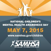 Awareness Day 2015 save the date web badge showing three white figures, an adult and two youths, stretching above the words National Children's Mental Health Awareness Day May 7, 2015 www.samhsa.gov/children with the SAMHSA logo at the bottom of the image