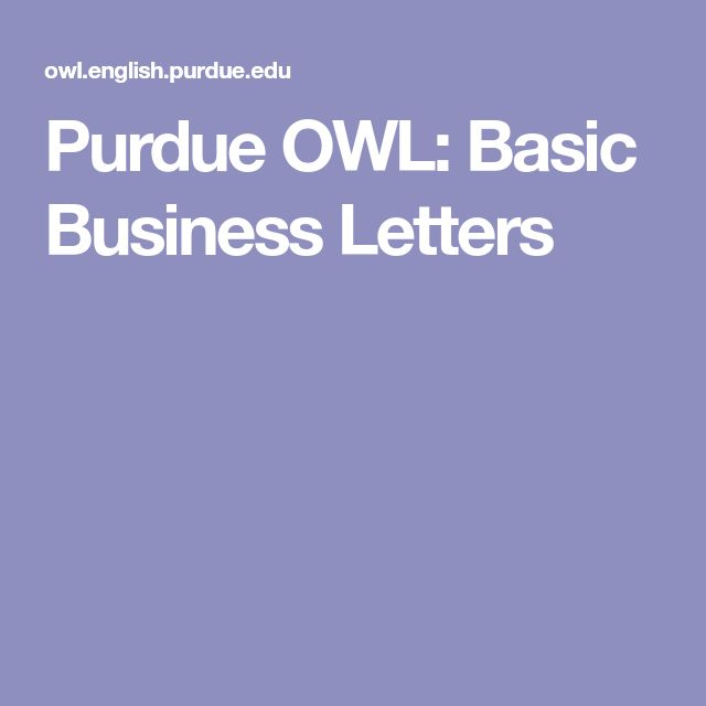 Purdue OWL: Basic Business Letters