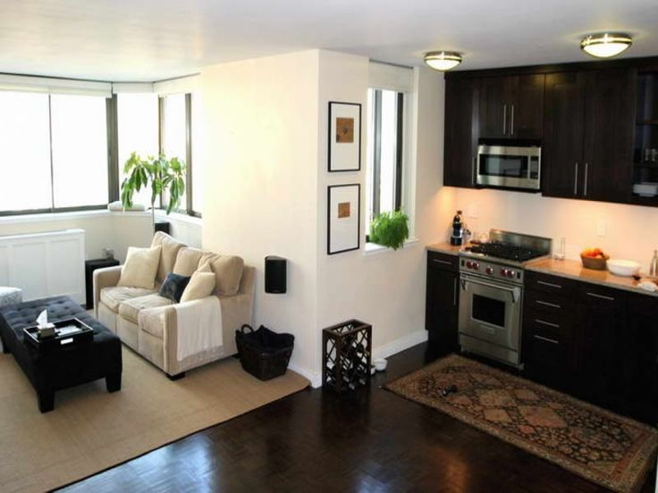 Apartment, Light Brown 3 Seater Sofa Modern Black Pouffe Brown Rug Black Rattan Basket Wall Downlight Two Simple Wall Photo Frames Hardwood Flooring Two Recessed Downlights Black Kitchen Cabinet L Shaped Transparent Glass Window: Interesting Design of Very Small Apartment And Photos