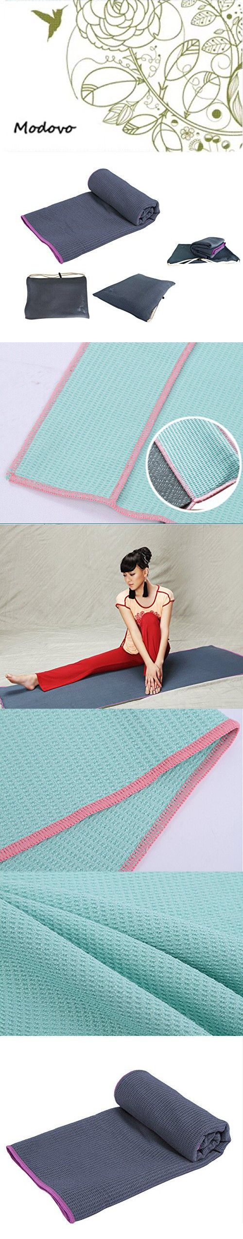 "Modovo Microfiber Non Skid Yoga Towel Dark Gray (72"" X 24"") with Carry Bag - Hot Yoga, Bikram Yoga, Vinyasa Yoga, Hatha Yoga, Ashtanga Yoga"