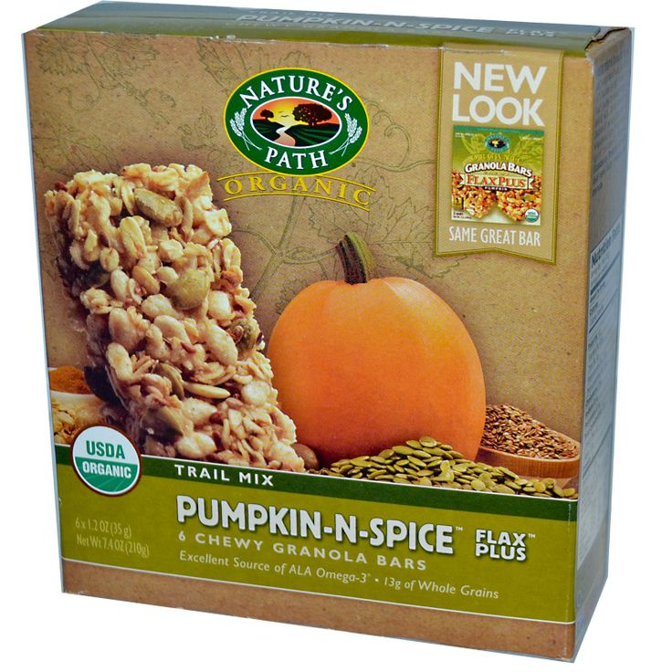 Nature's Path, Organic Chewy Granola Bars, Pumpkin-N-Spice, Trail Mix, 6 Bars, 1.2 oz (35 g) Each - iHerb.com