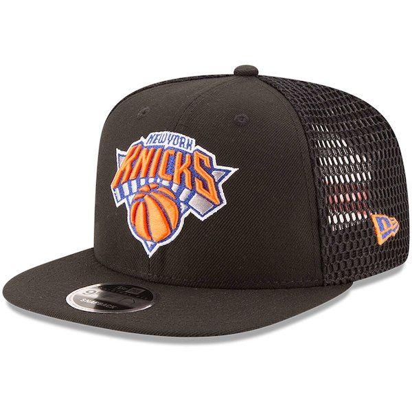 0801ce1e8ad Men s New York Knicks New Era Black Mesh Fresh Snapback 9FIFTY Adjustable  Hat