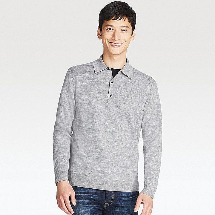 Uniqlo Men's Extra Fine Merino Knit Long-sleeve Polo Shirt (online Exclusive)
