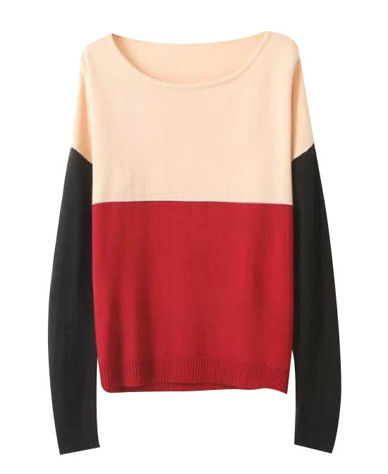 Round Neck Splice Knitwear