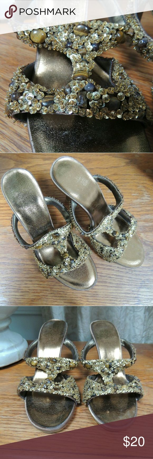 Beaded and sequin high heel evening shoes Tiger eye stone and gold tone beaded high heels.  Size 6.  Never worn.  No markings of brand that I can see. unknown Shoes Heels