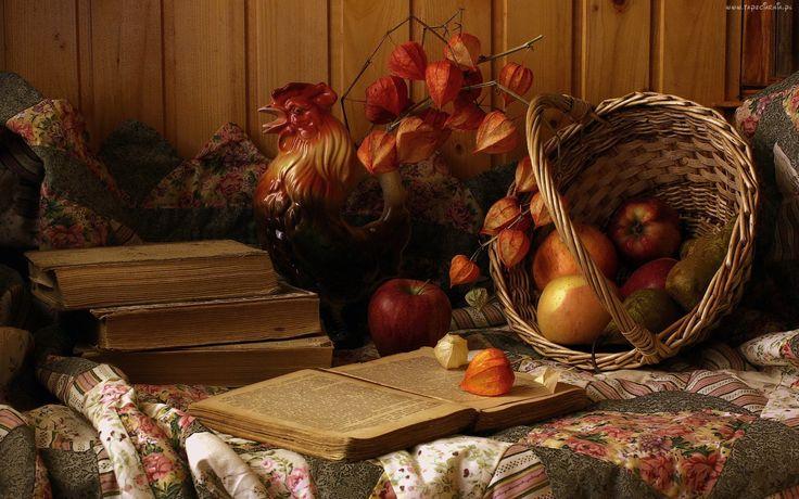 Jesienna, Kompozycja, Jabłka, Gruszki, Kosz, Suszki