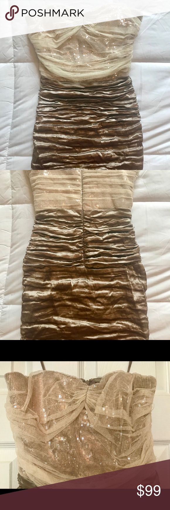 Strapless gold sequin mini party dress, size 2. This beautiful high quality Nicole Miller dress is the perfect going out dress! It hits about mid thigh, with ruching and gorgeous gold sequin detail. Zips in the back. Size 2, form fitting. Nicole Miller Dresses Mini