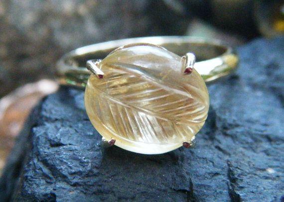 Carved citrine ring antique carved gem unusual by ExquisiteGem