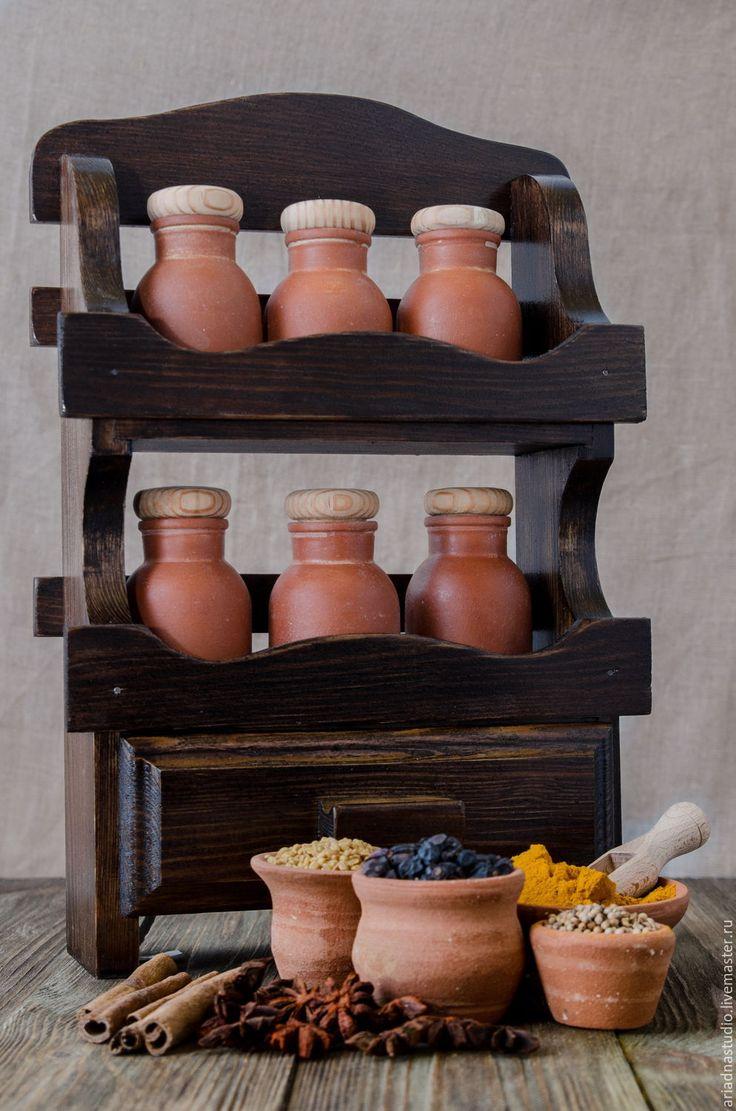Ceramic Sets for spices  | Купить Набор для специй, темное дерево. - Керамика, дерево, полки для специй, полки для пряностей