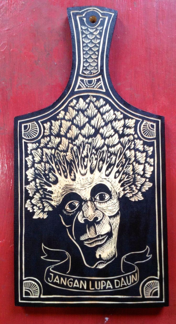 Jangan Lupa Daun, wood engraving on chopping board. Celebrating Survive Garages 4th Birthday,Group exhibition, Asmara Coffee Shop, Yogyakarta, Indonesia. www.djuwadiprints.tumblr.com