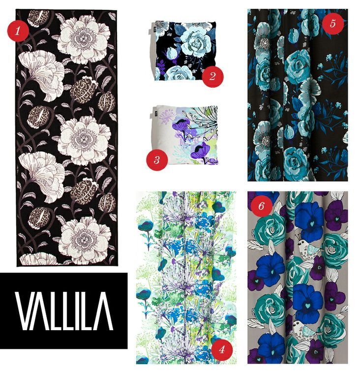 "Flowers for the ladies from Vallila! 1. ""Muuan"" rug 2. ""DonJuan"" cushion 43x43cm 3. ""Anis"" cushion 43x43cm 4. ""Anis"" curtain 5. ""DonJuan"" curtain 6. ""Viola"" curtain."