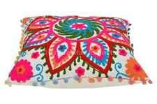 Suzani Cushion Cover Cotton Pillow Cases 16x16 Pom Pom Lace Throw Pillows Shams