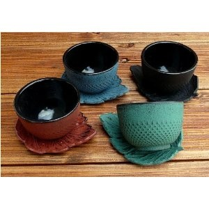 teeblume - Cast Iron Cup with Coaster, Arare, 0.15 litre, dark-green, incl. shipping costs